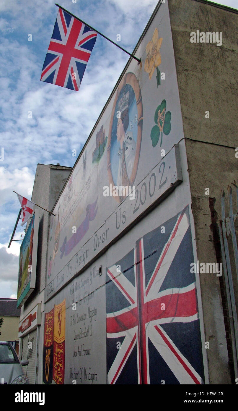 Shankill Road Mural -Long To Rein Over Us, West Belfast, Northern Ireland, UK Stock Photo