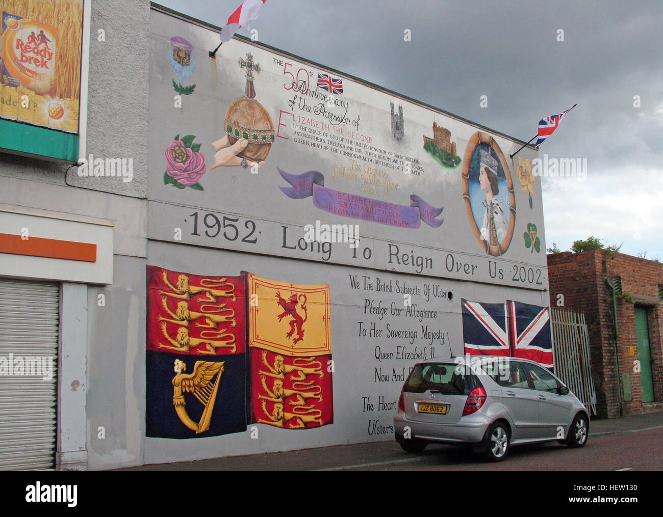 Shankill Road Mural -Queen Long To Rein Over Us, West Belfast, Northern Ireland, UK - Stock Image