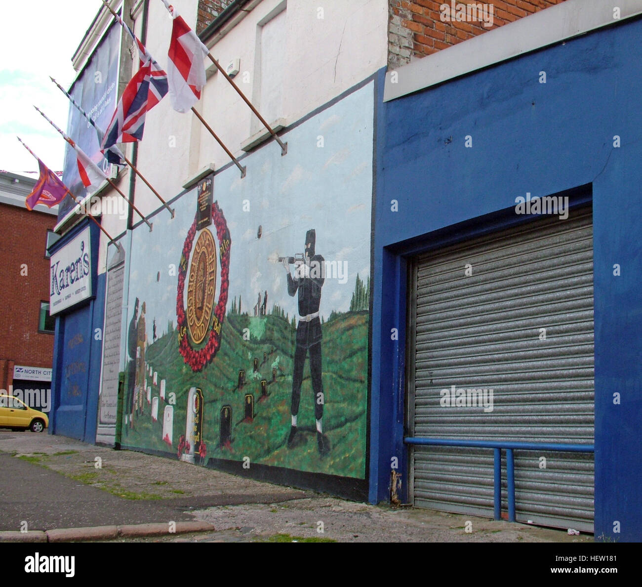 Shankill Road Mural -UDF, Ulster To Victory, West Belfast, Northern Ireland, UK - Stock Image