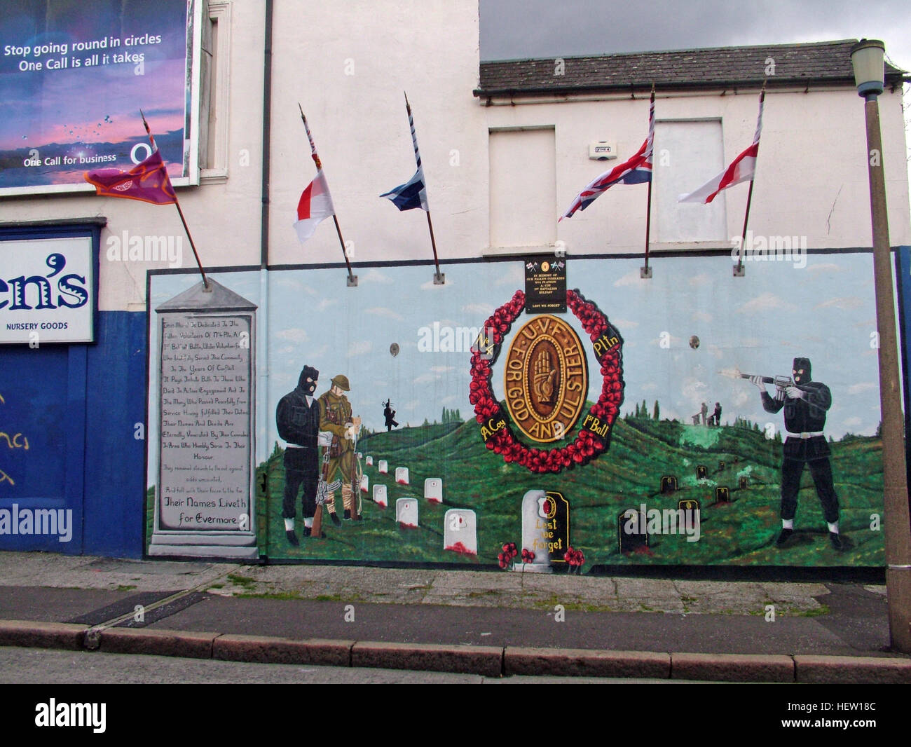 Shankill Road Mural -For God for Ulster, West Belfast, Northern Ireland, UK Stock Photo
