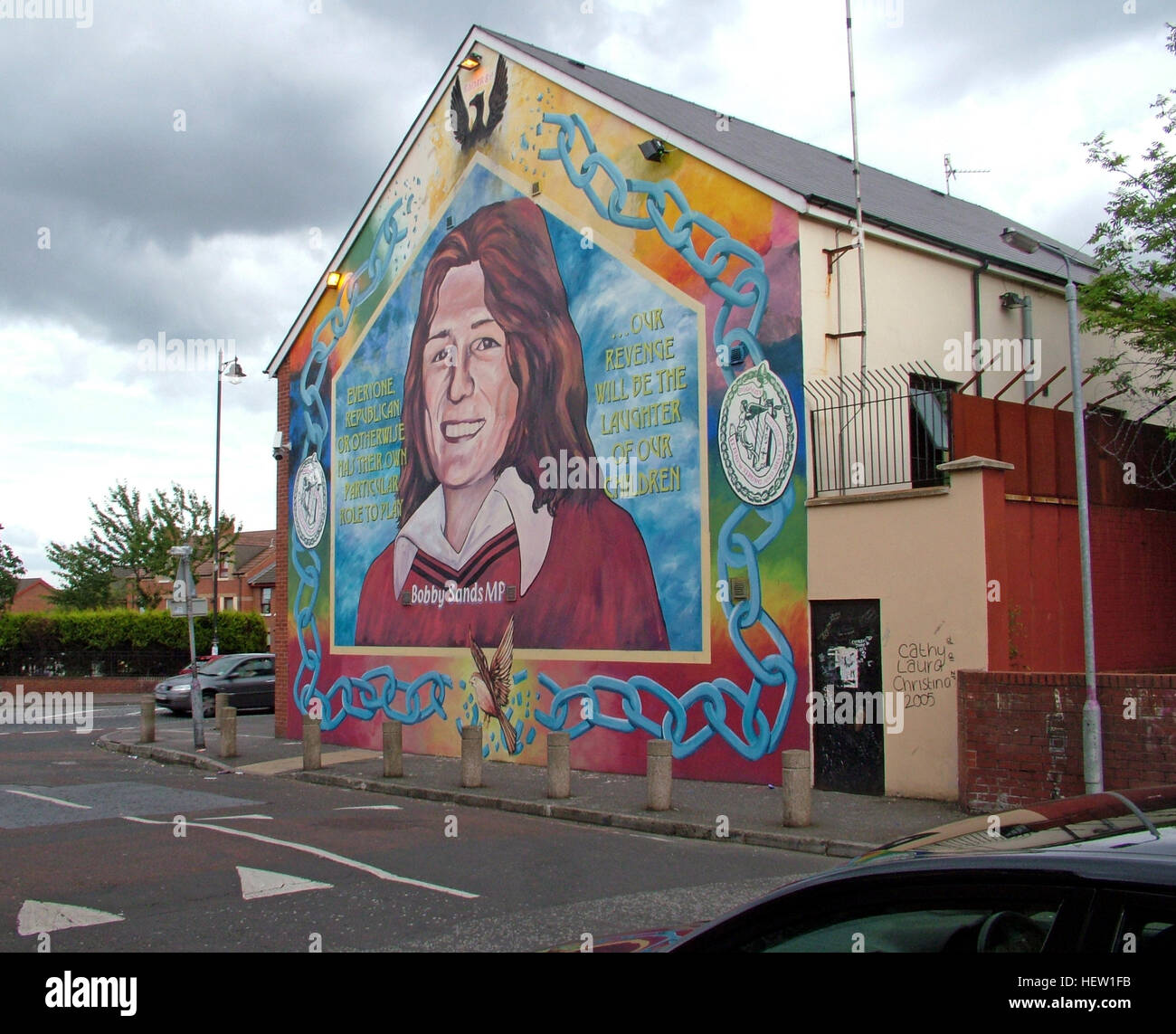 Belfast Falls Rd Republican Mural- Bobby Sands MP - Stock Image