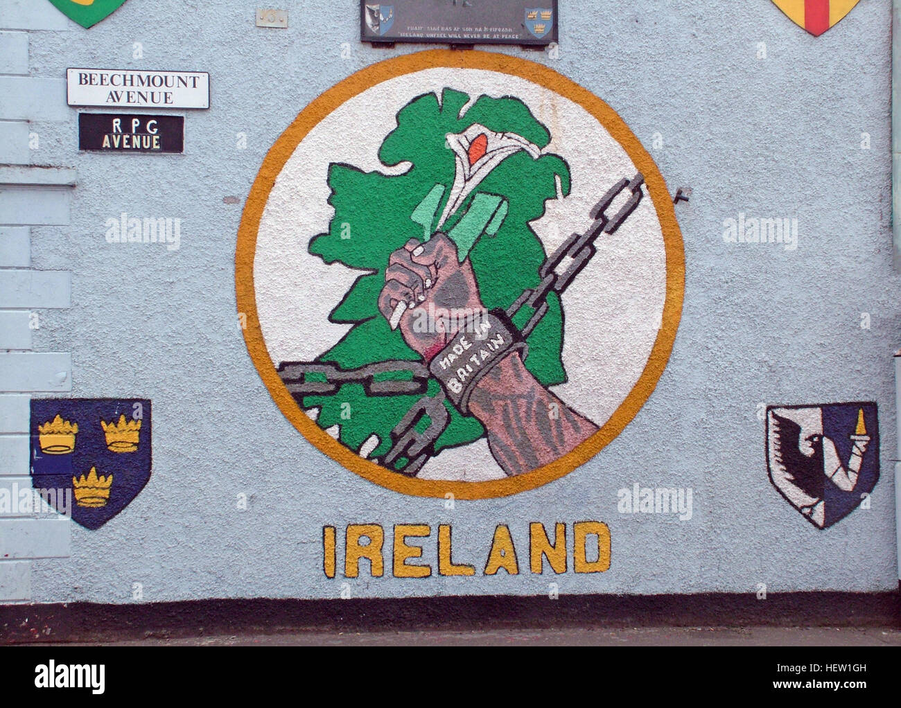 Belfast Falls Rd Republican Mural- Irelands Pain made in Britain, RPG Avenue - Beechmount detail - Stock Image