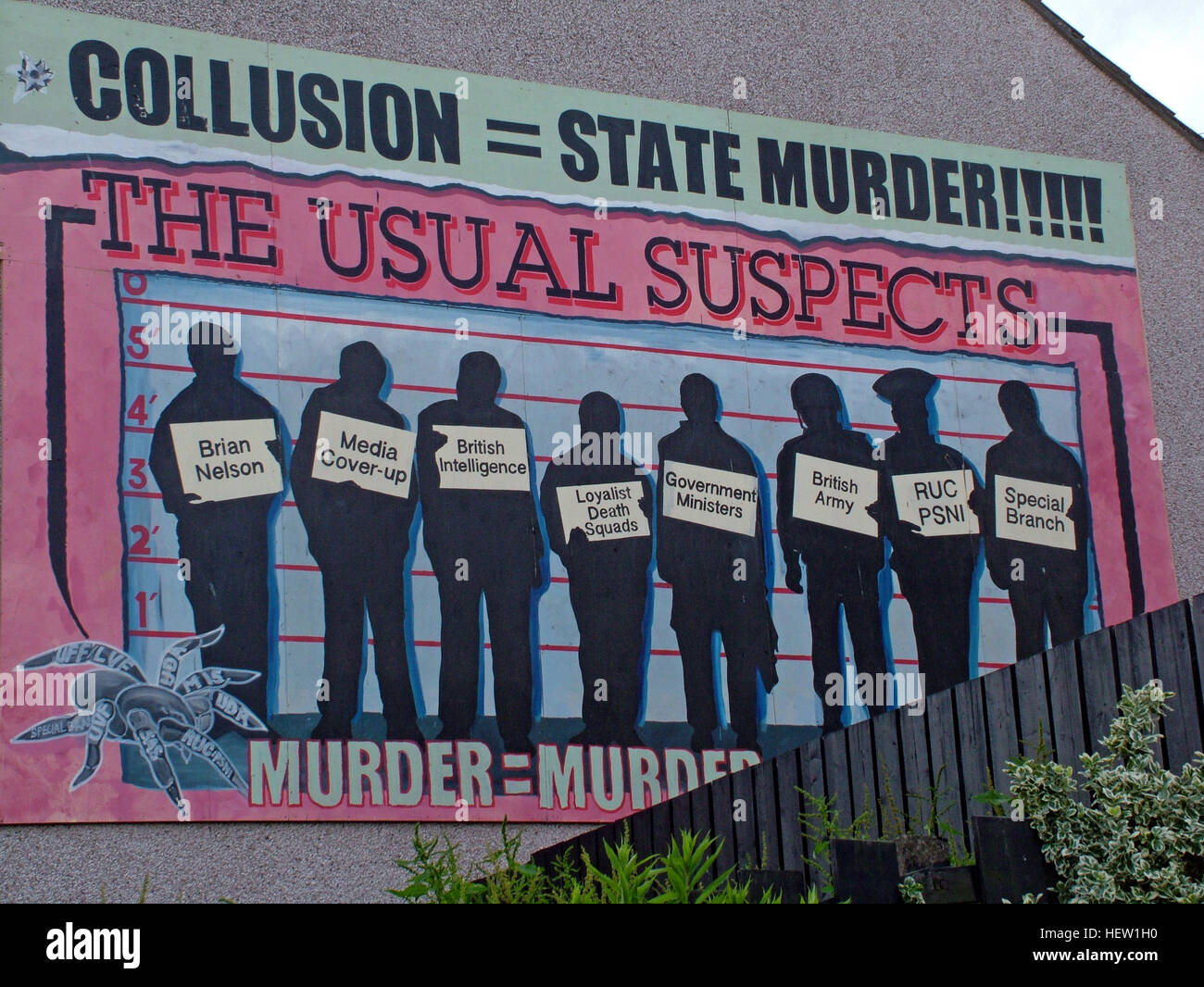 Belfast Falls Rd Republican Mural- Collusion State Murder The Usual Suspects - Stock Image