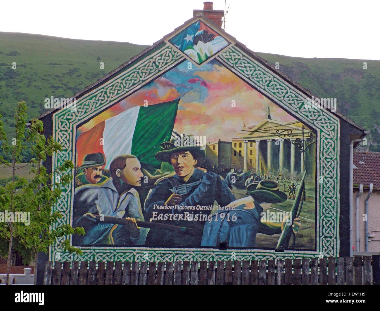 Belfast Falls Rd Republican Mural- Easter Rising - Stock Image