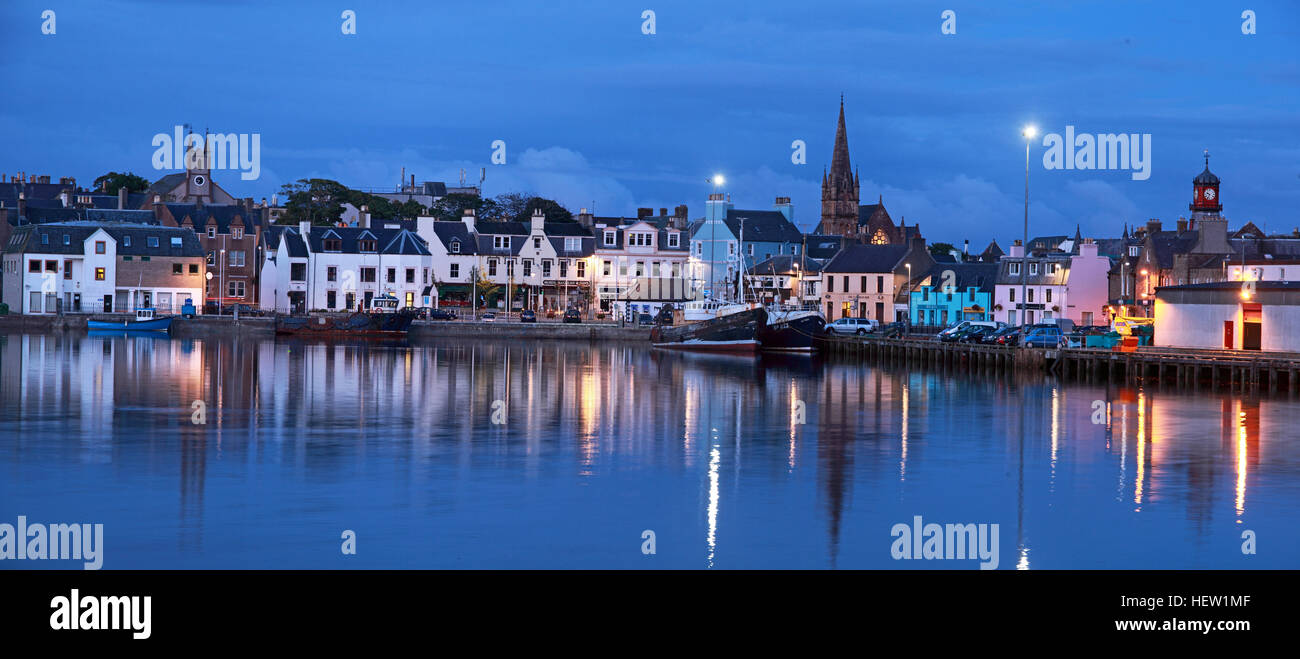 Stornoway Isle Of Lewis panorama harbour reflections,Scotland, UK - Stock Image