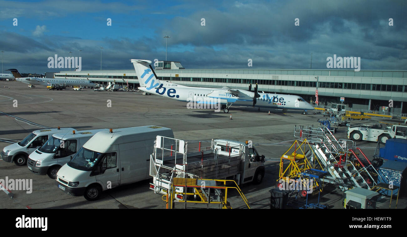 FlyBe G-JEDM at Manchester awaiting take-off - Stock Image