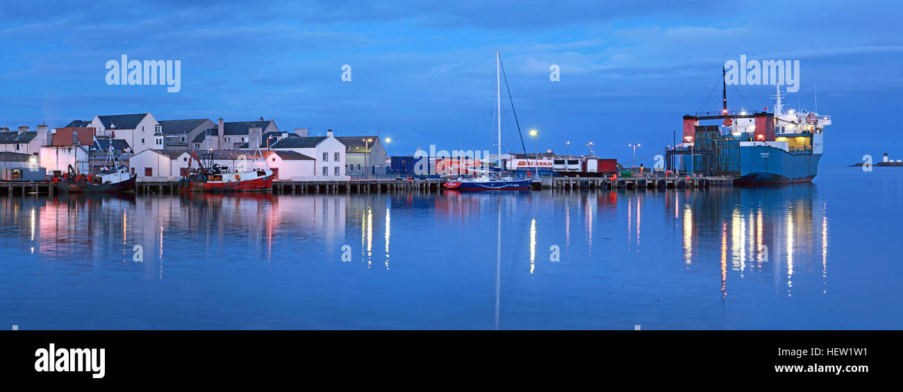 Stornoway Isle Of Lewis Panorama of harbour, Scotland, UK,Ullapool ferry MV,Loch,Seaforth Stock Photo