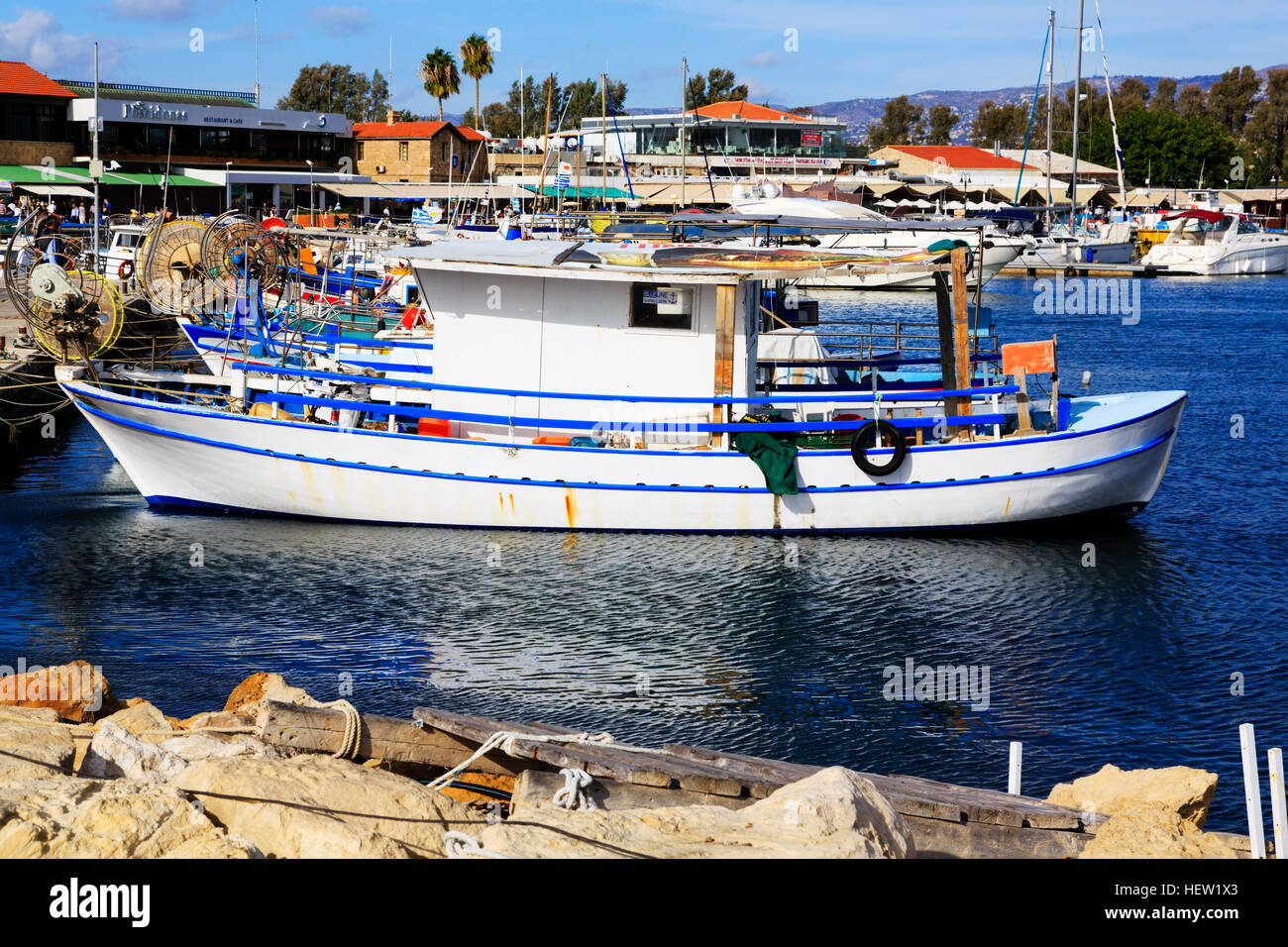 Boats in Paphos Harbour, Cyprus. - Stock Image