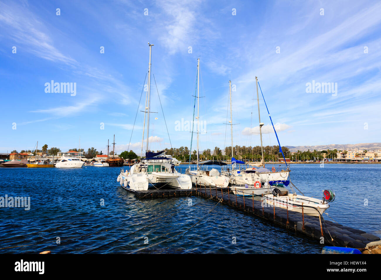 Boats in Paphos harbour, Cyprus - Stock Image