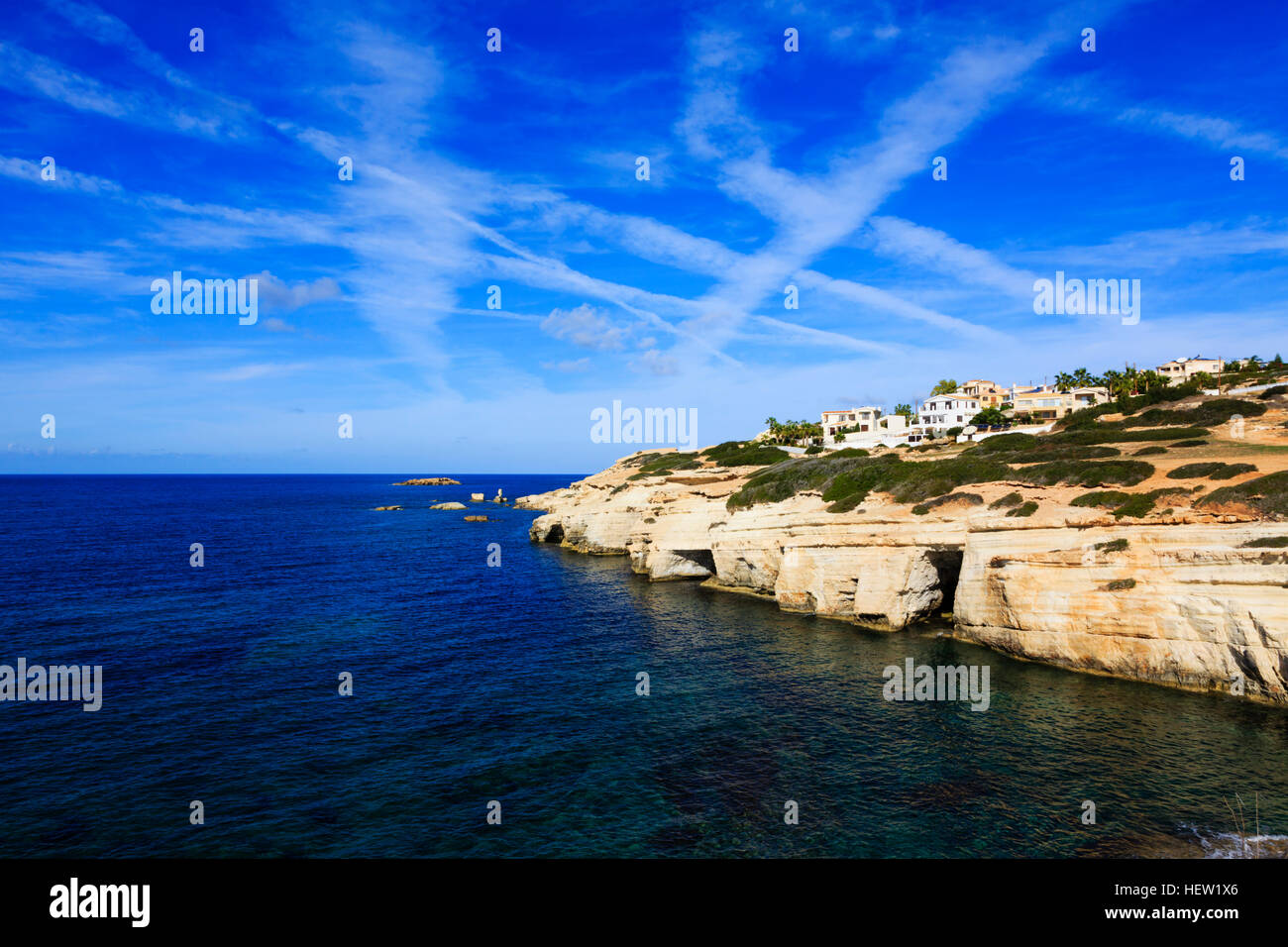 Coastal erosion at Seacaves, Paphos, Cyprus. - Stock Image