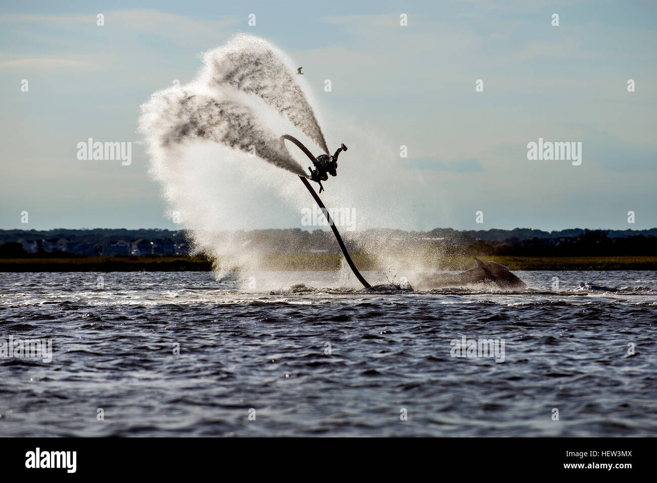 Person flyboarding in ocean, Seaside Heights, New Jersey, USA Stock Photo