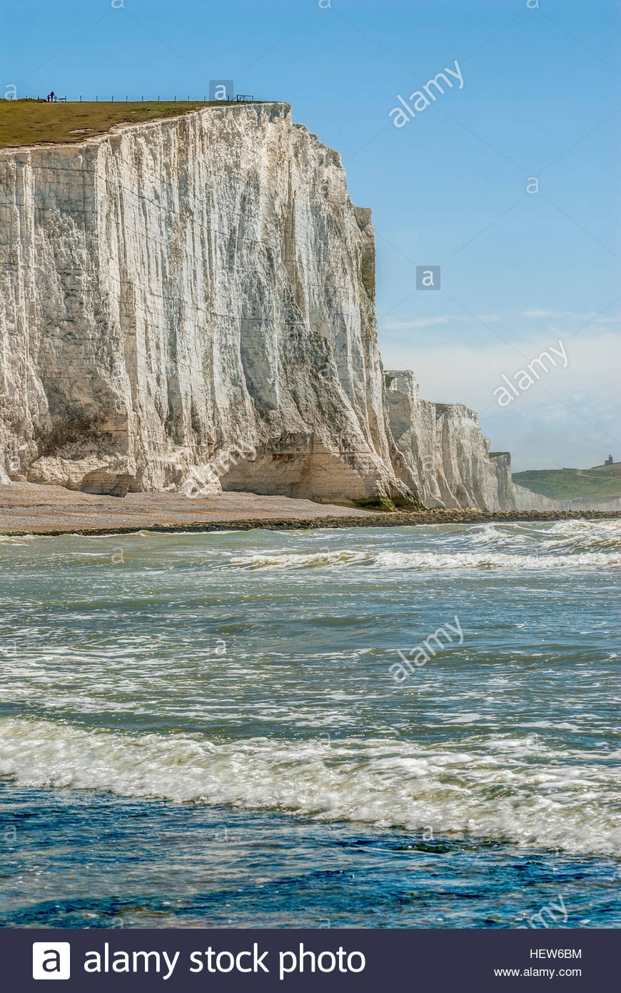 View over the Seven Sister Cliff Formation near Eastbourne, East Sussex, South England. - Stock Image