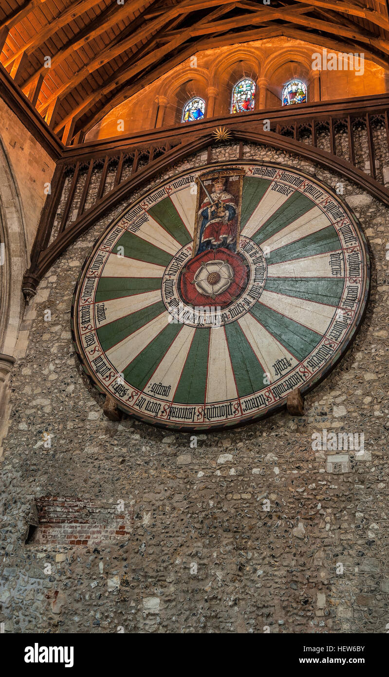 The Great Hall of Winchester, England, where the legendary round table of King Artus was located. - Stock Image