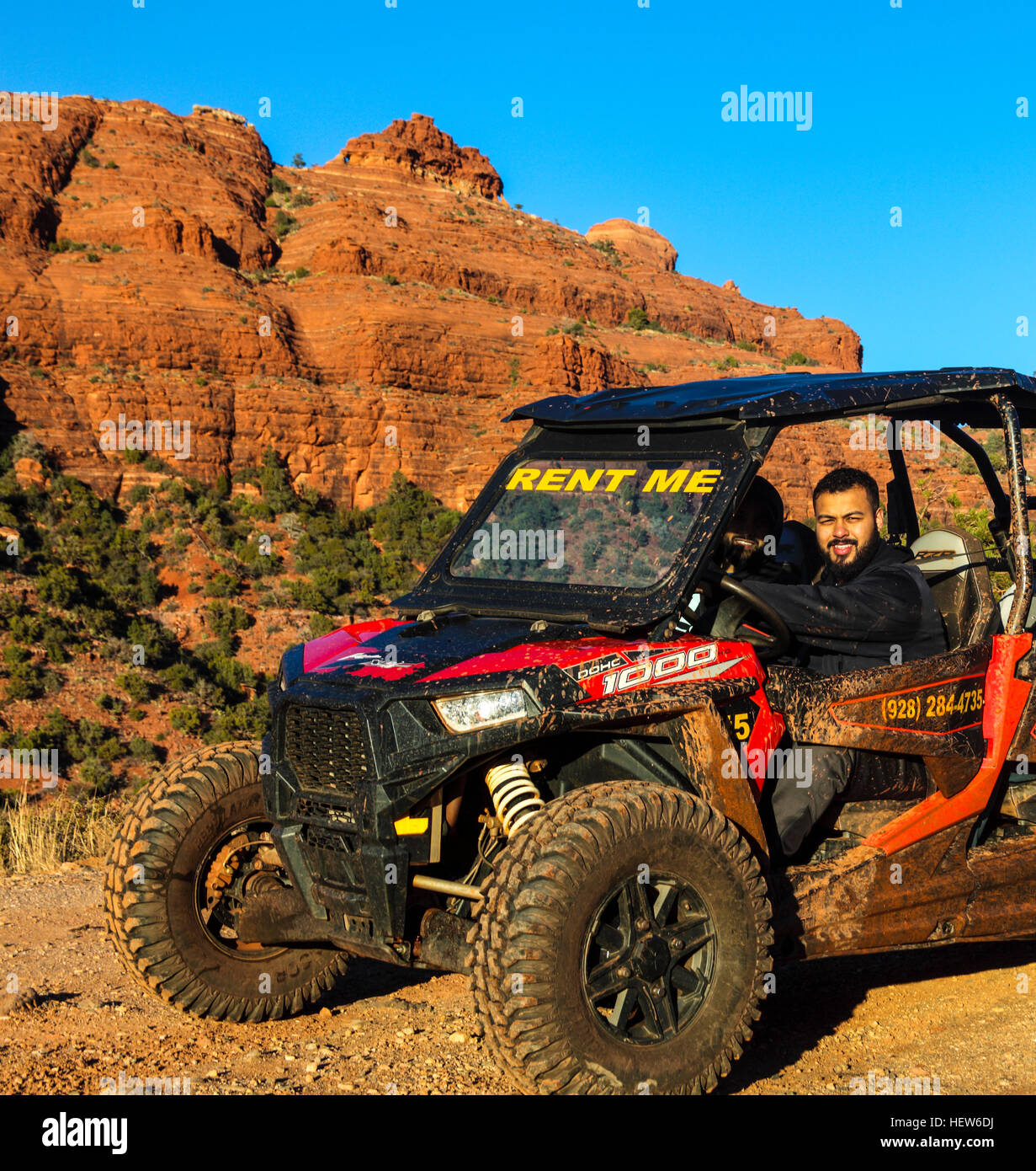 Tourists explore Schnebly Hill road in Sedona in rental ATV - Stock Image