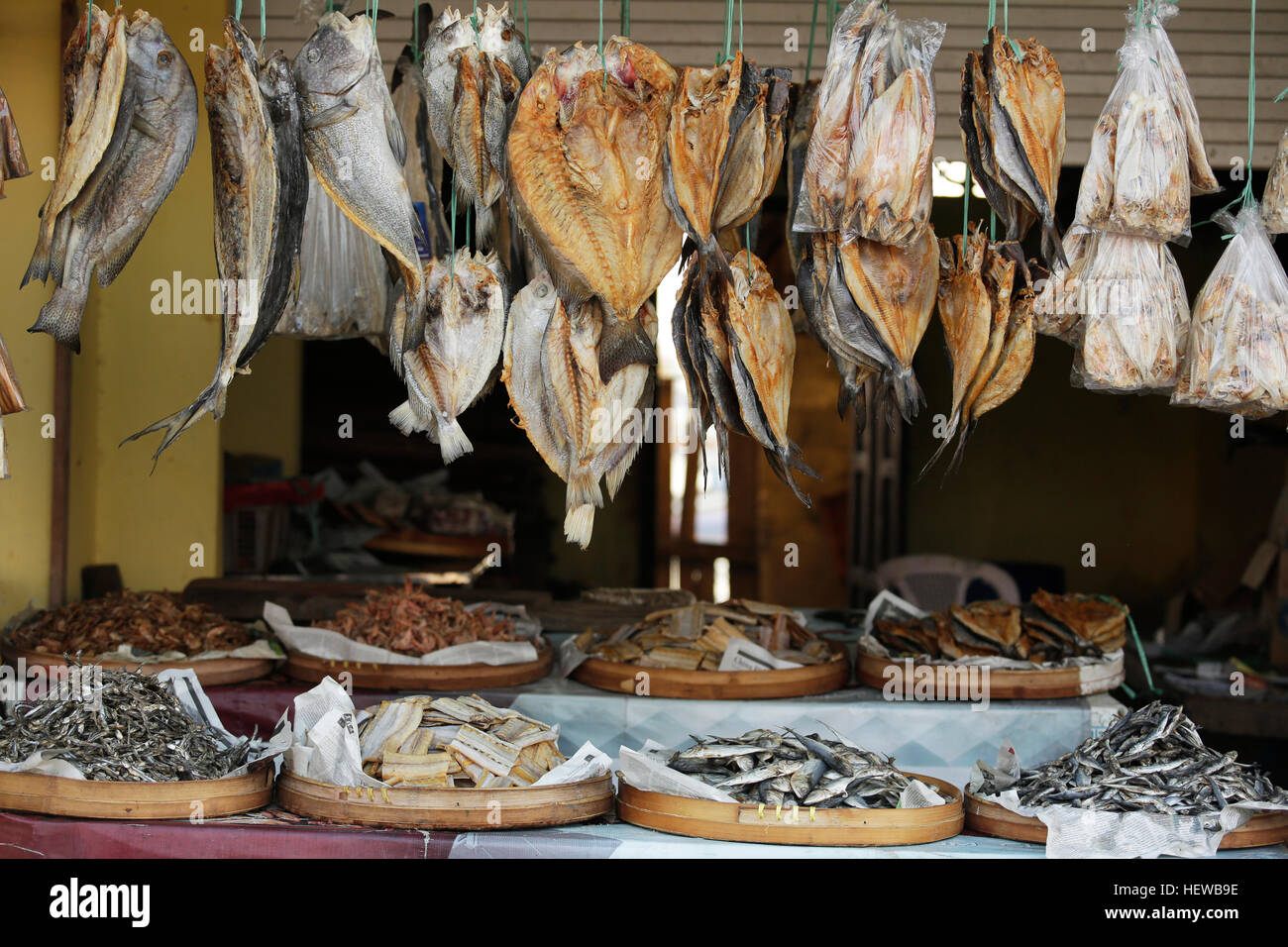 Dried fishes hanged with the ropes in a shop of fish market in Muncar,Indonesia - Stock Image