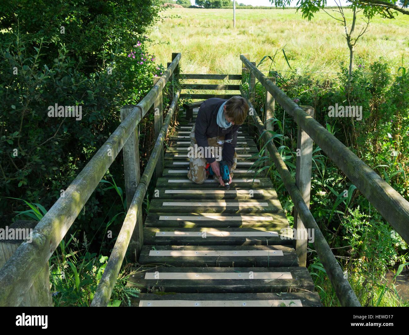 Female volunteer screwing anti slip strips on slippery footbridge on public right of way footpath making it safer - Stock Image