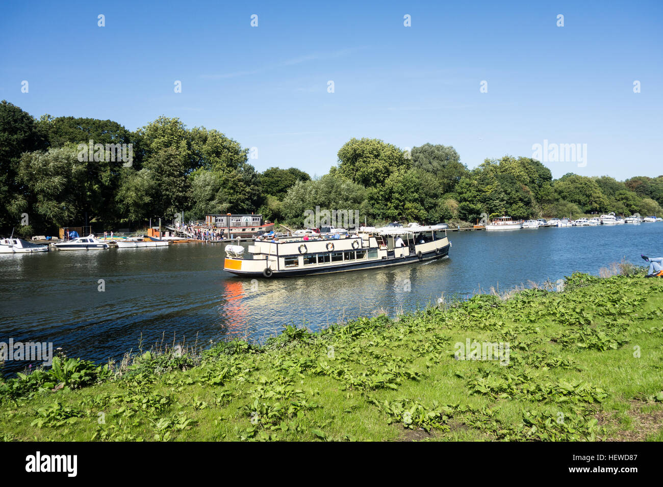 A river bus service along the River Thames in Richmond, London. - Stock Image