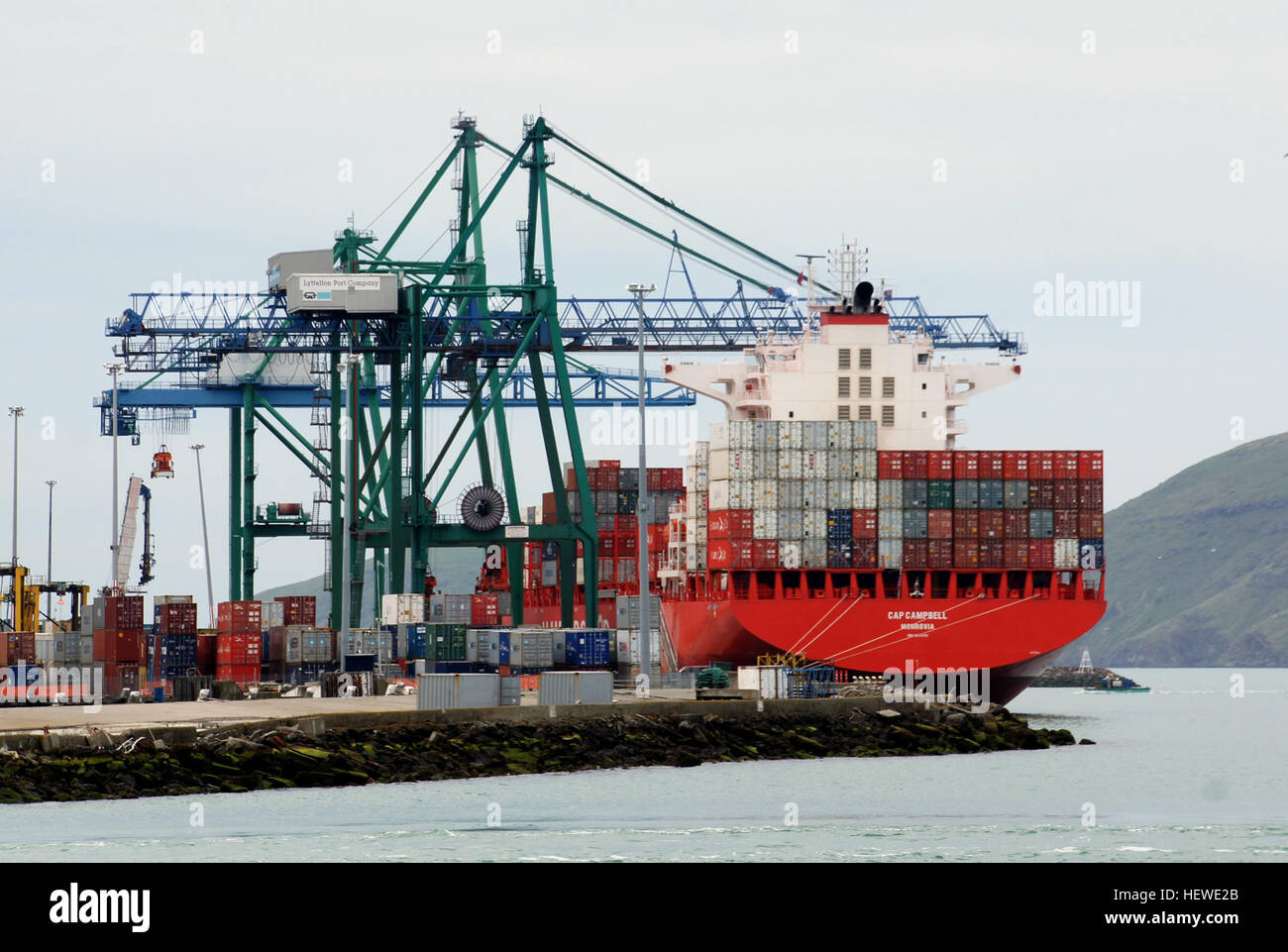 Cap Campbell Details       Type: Container Vessel  Built: 2013  Flag:Liberia        Yard Zhejiang Sinopacific Shipyard - Stock Image