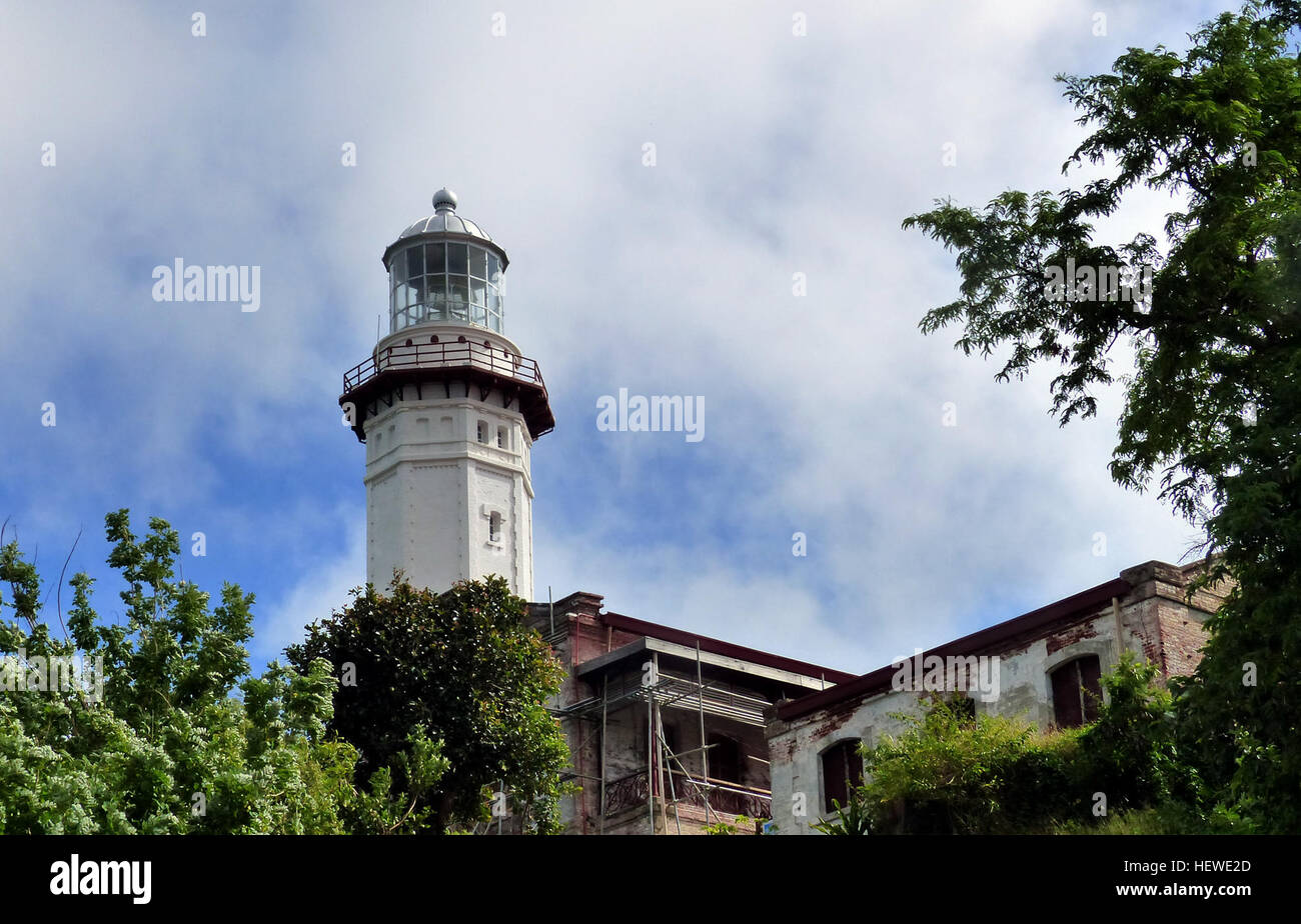 Cape Bojeador Lighthouse, also known as Burgos Lighthouse, is a cultural heritage structure in Burgos, Ilocos Norte, Stock Photo