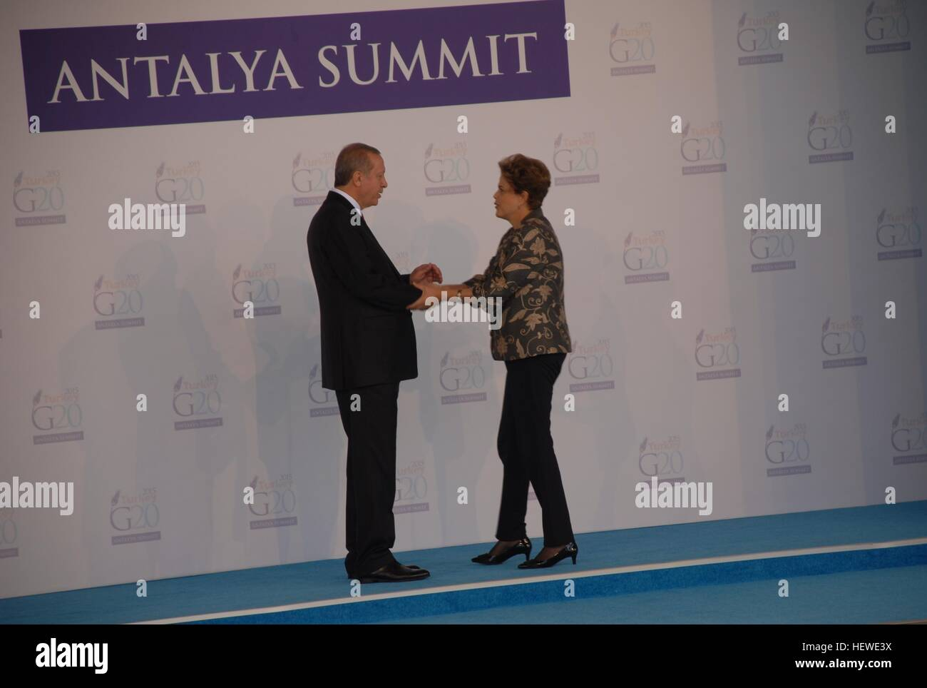 Turksih President Recep Tayyip Erdogan (L) greets Brazilian President Dilma Rousseff at the G20 summit. - Stock Image