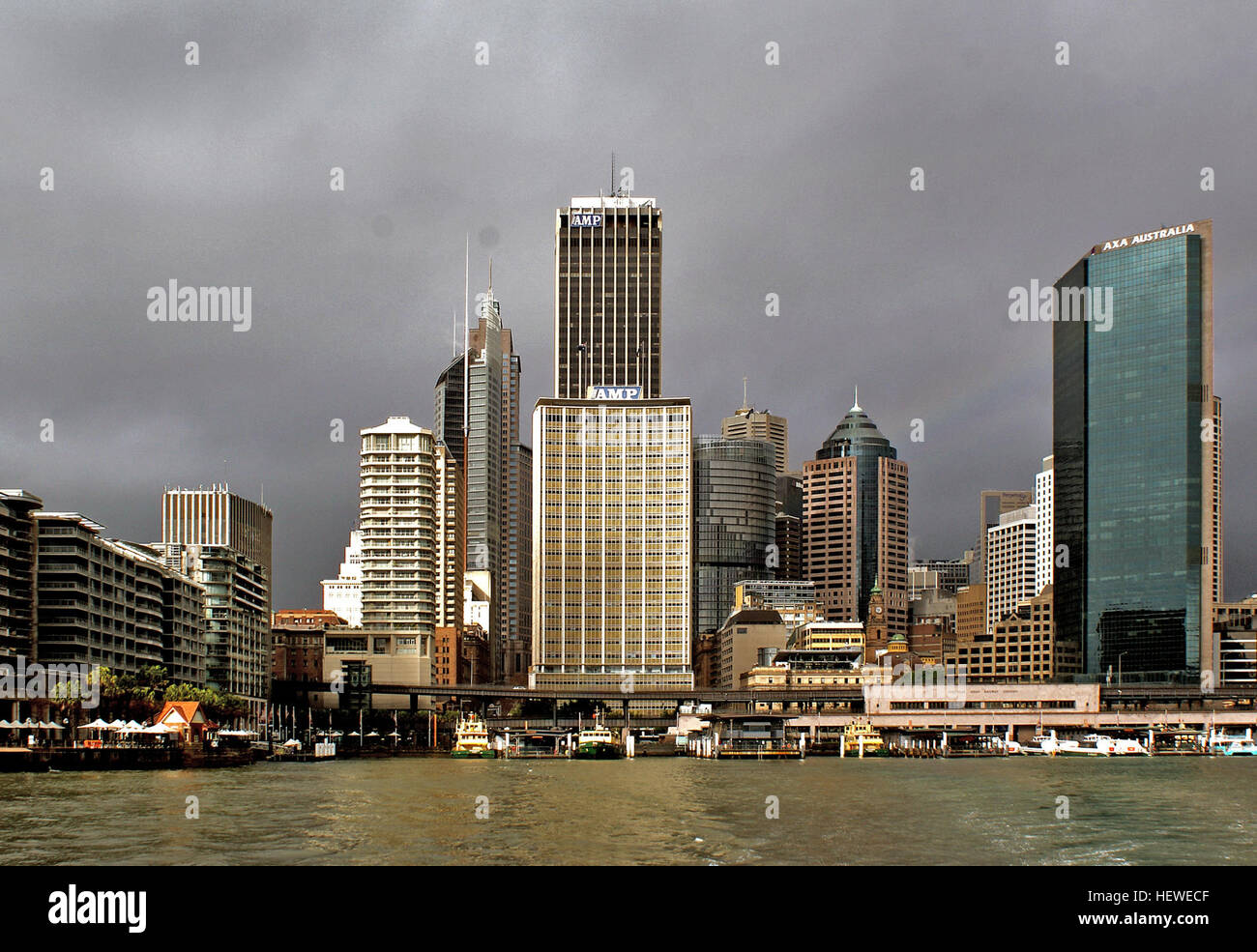 Circular Quay is the hub of Sydney Harbour, situated at a small inlet called Sydney Cove, the founding site for - Stock Image