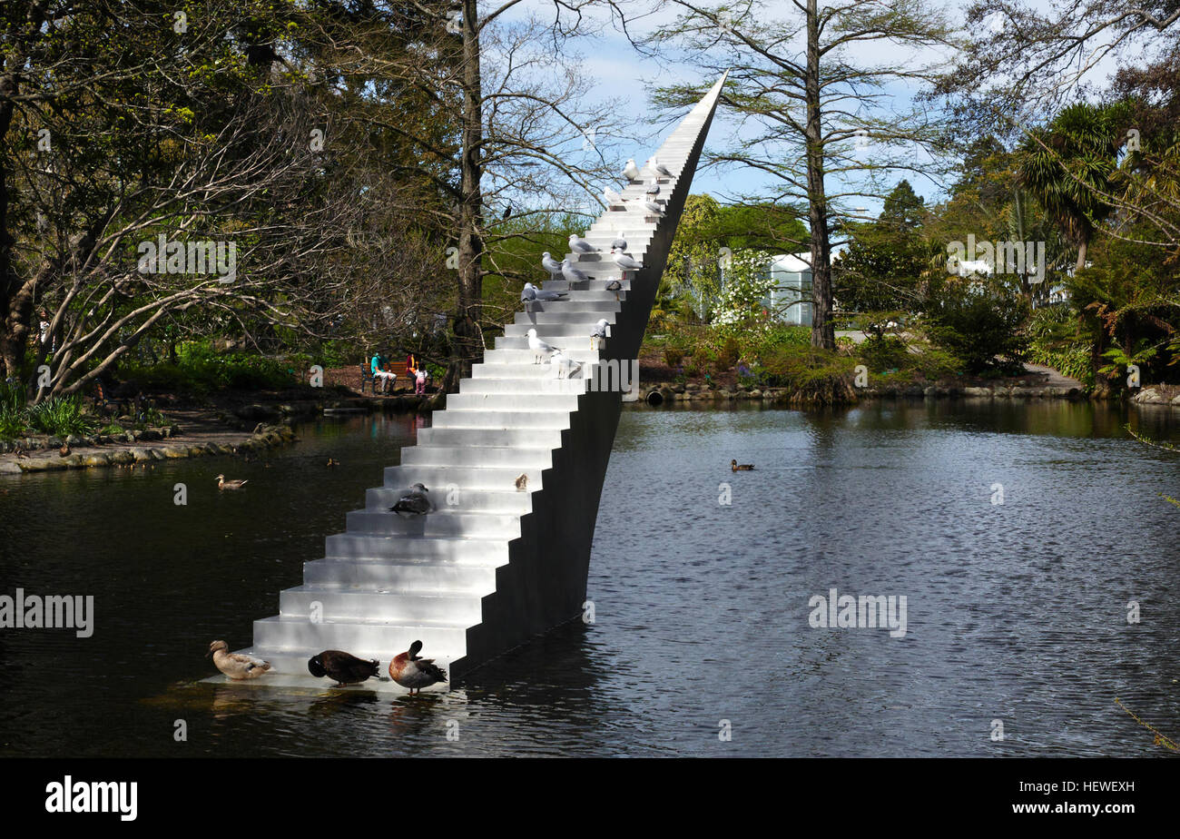 The vertiginous Diminish and Ascend has previously drawn great attention at Sculpture by the Sea, Sydney and Sculpture - Stock Image