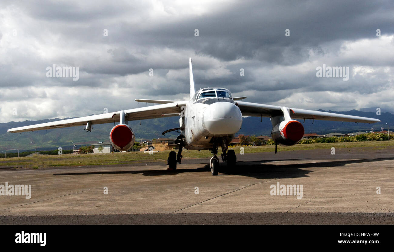 Created to carry nuclear bombs for the Navy after WWII, the Skywarrior is the heaviest aircraft to land on a carrier - Stock Image