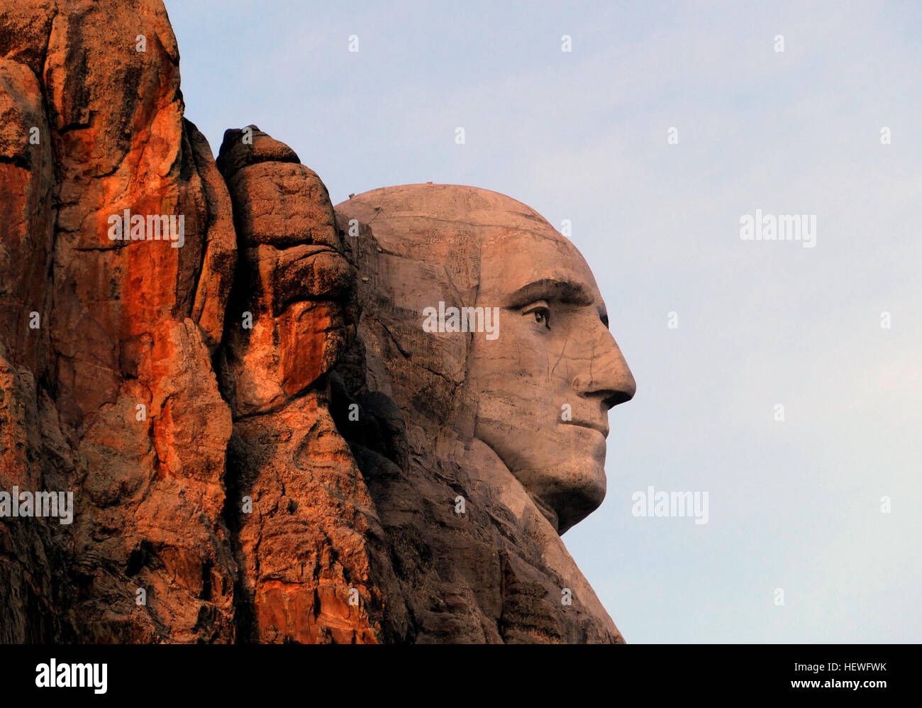 Mount Rushmore National Memorial is a massive sculpture carved into Mt. Rushmore in the Black Hills region of South - Stock Image