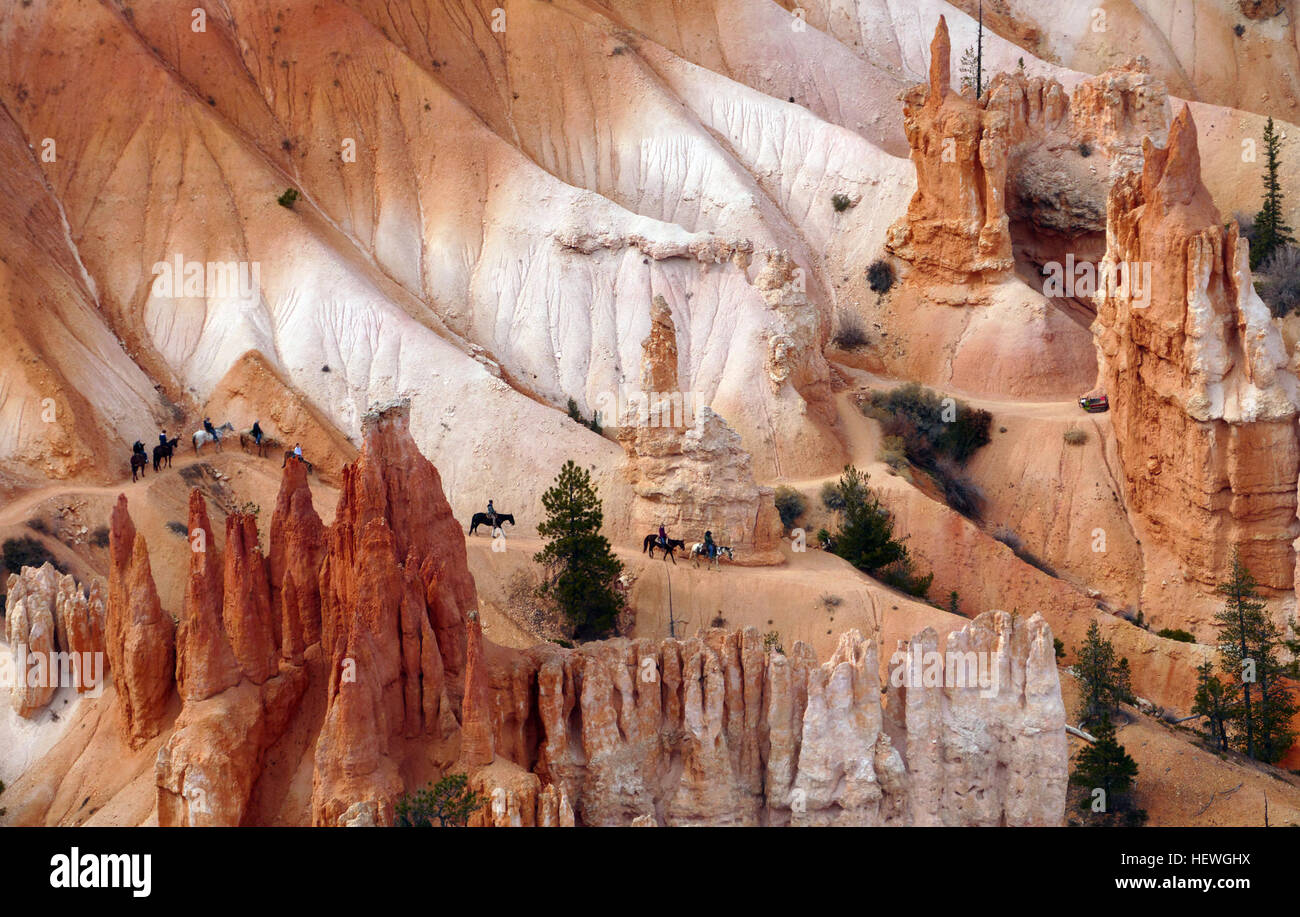 You'll see more grandeur and beauty than you can imagine on your visit to Bryce Canyon. Like an exciting trip back - Stock Image