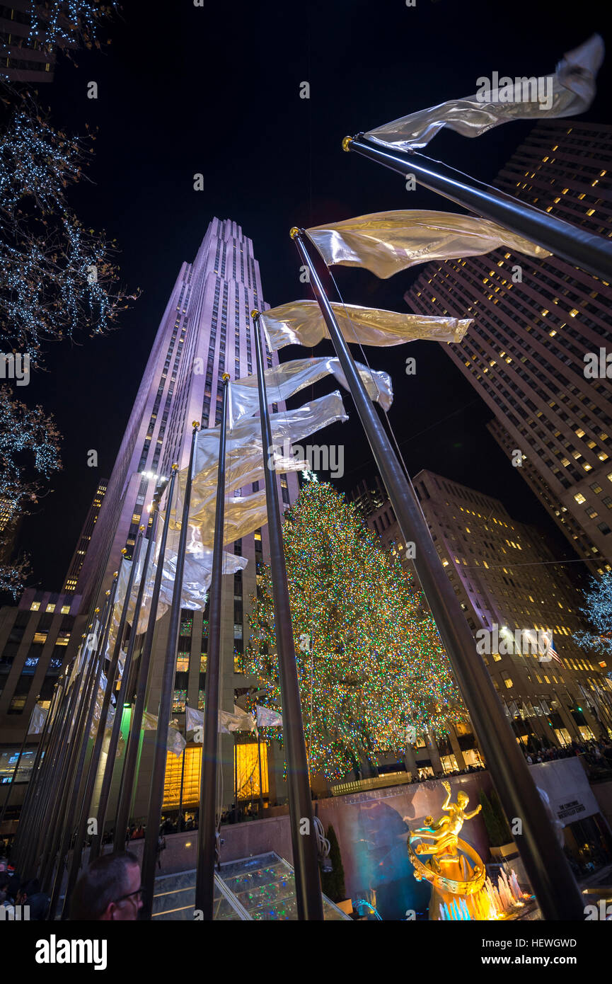 NEW YORK CITY - DECEMBER 23, 2016: Christmas lights decorate the city for the holiday season. Stock Photo