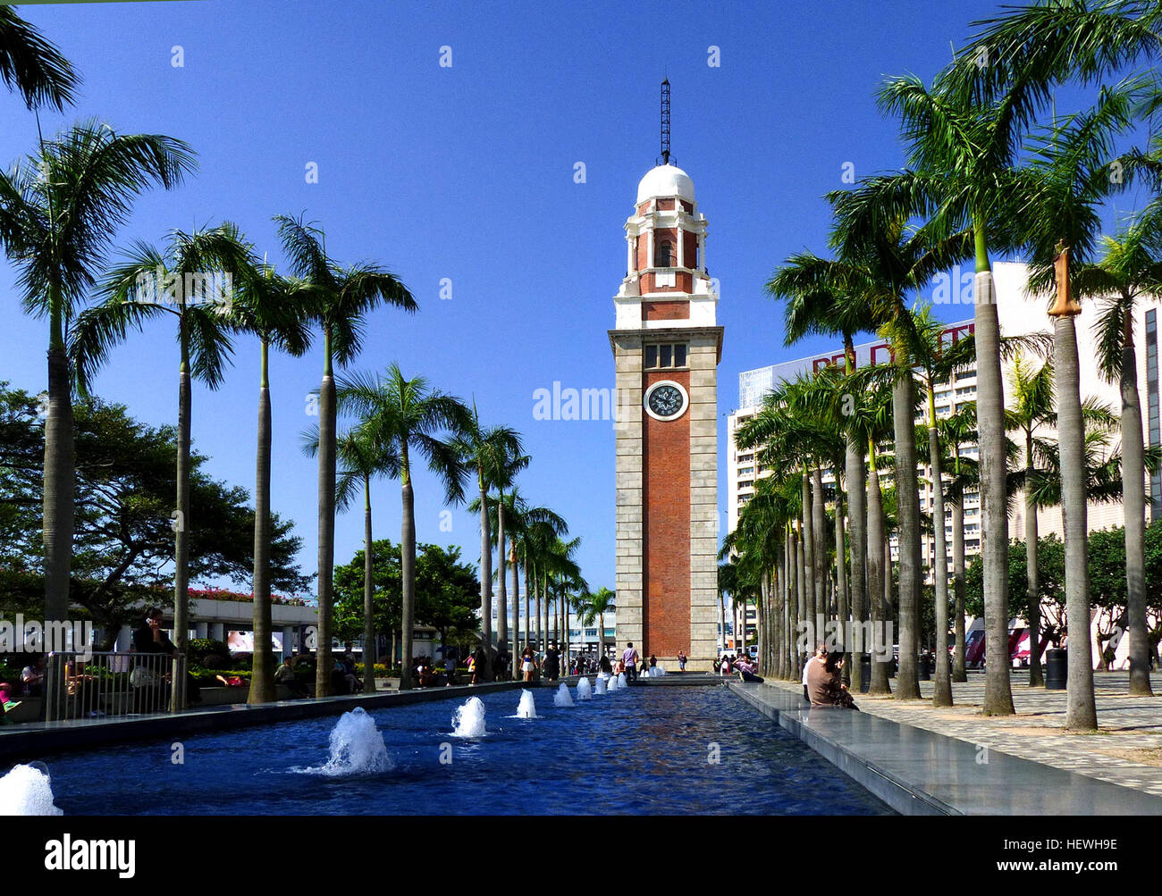 Standing 44-metres tall, the old Clock Tower was erected in 1915 as part of the Kowloon–Canton Railway terminus. - Stock Image