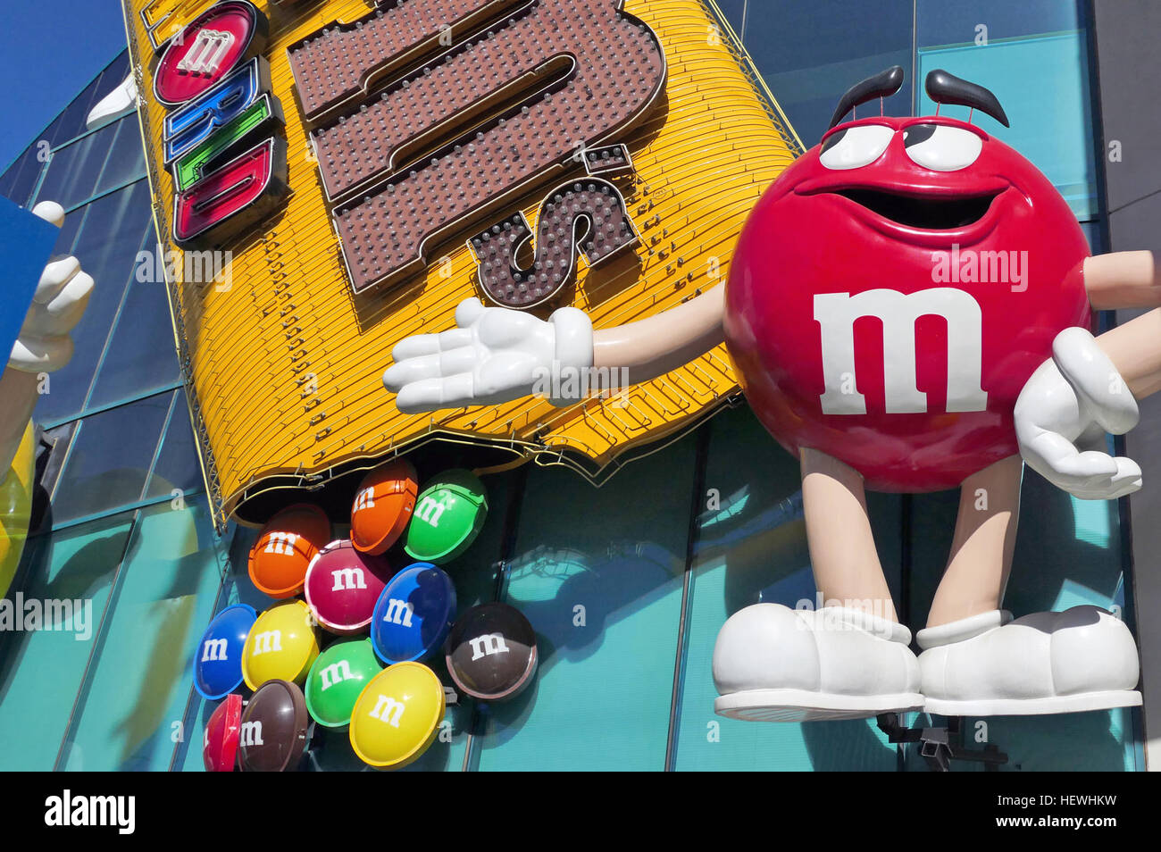 Red, Green and Yellow are just a few of the recognizable M&M characters you'll see when you visit M&M's - Stock Image