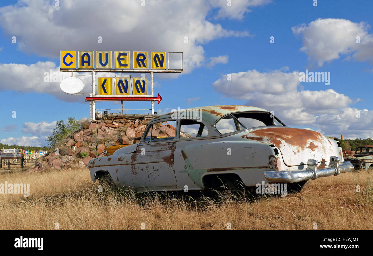 Route 66  Traveling between Chicago and Los Angeles, Route 66 is one of the greatest and most scenic roadways in - Stock Image