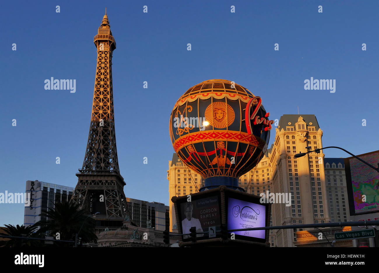 This French-themed casino hotel with a half-size Eiffel Tower is across the Strip from The Bellagio and a 9-minute - Stock Image