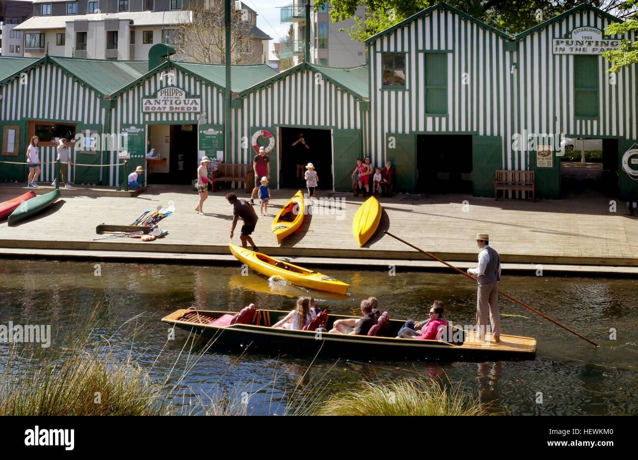 Come and experience a slice of Christchurch's history at the 125-year-old Antigua Boat Sheds and Café on - Stock Image