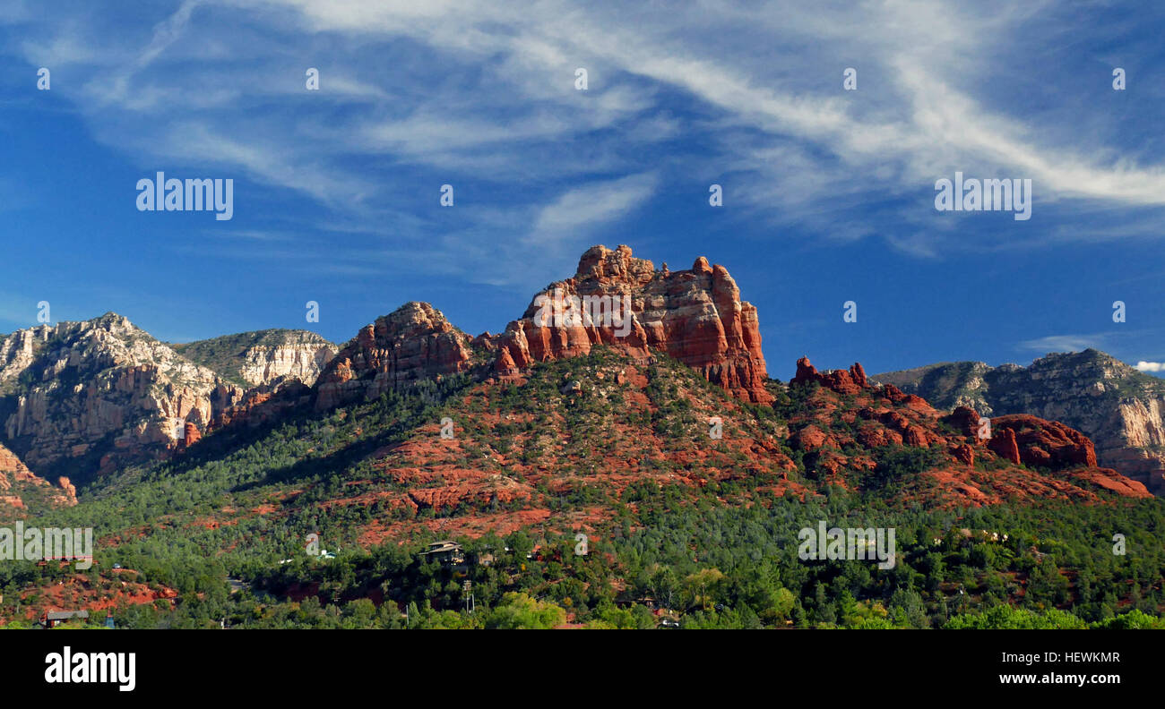The famous Red Rocks of Sedona are one of the most beautiful natural sites in the United States. Part of the eroding - Stock Image