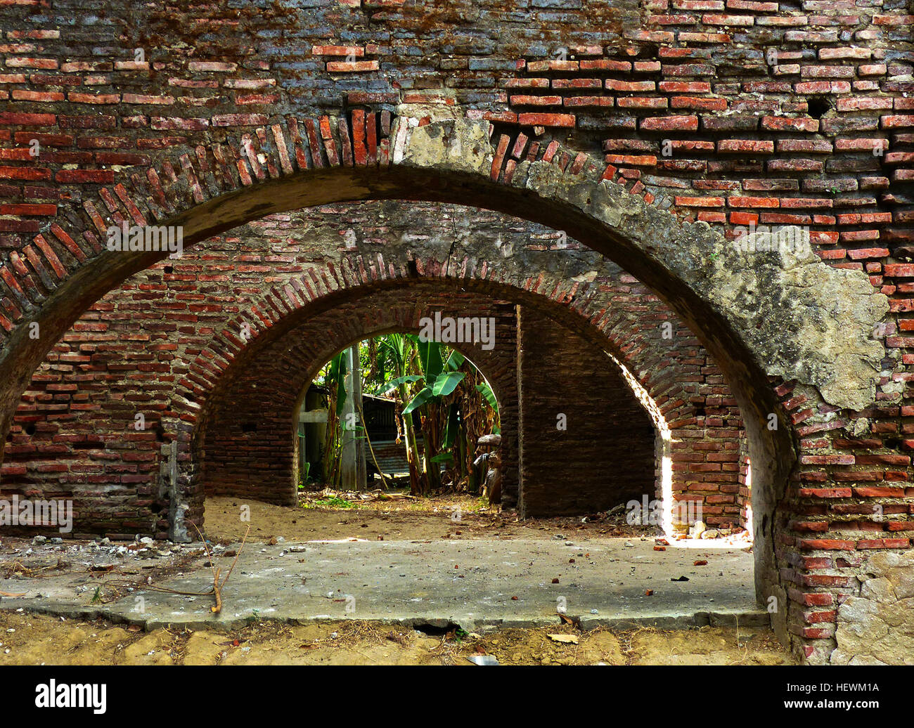 A brick arch is the traditional and one of the most aesthetically pleasing methods of masonry support over an opening - Stock Image
