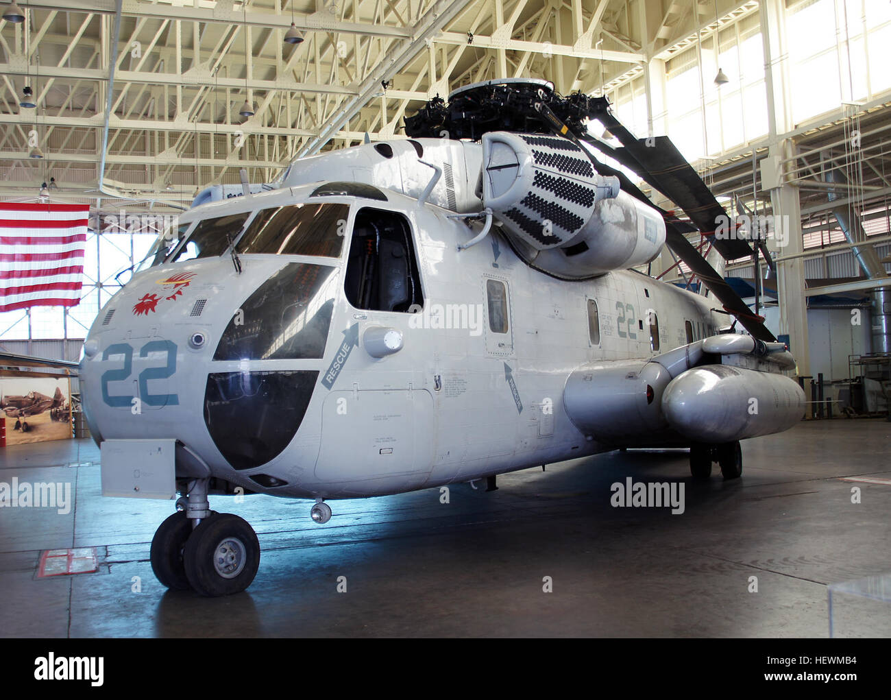 The CH-53 helicopter is the more powerful younger brother of the Jolly Green Giant H-3—and one of the largest helicopters - Stock Image