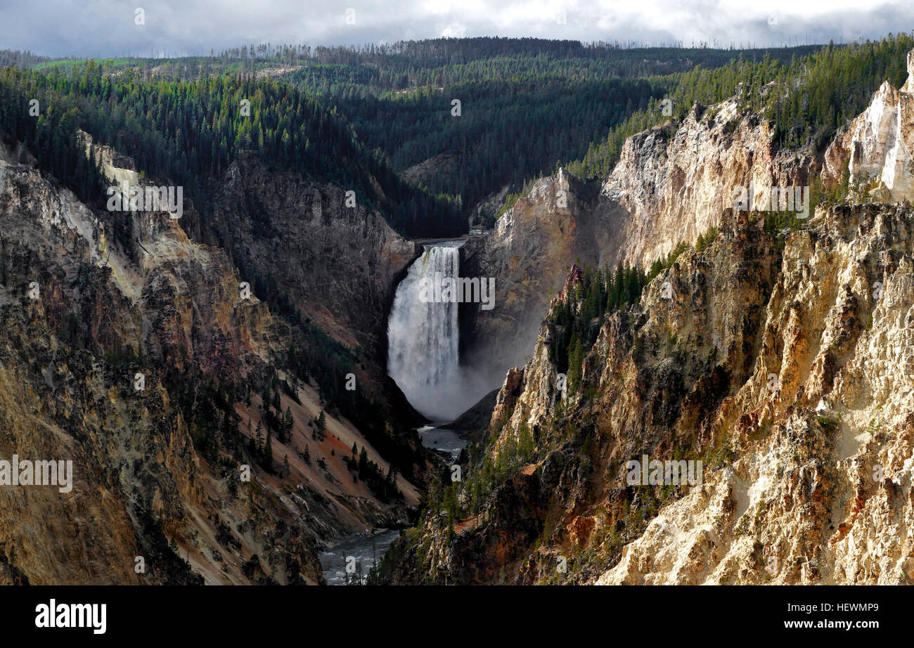 Artist Point is one of the marquee overlooks on the Grand Canyon of the Yellowstone River, with an exceptional perspective - Stock Image