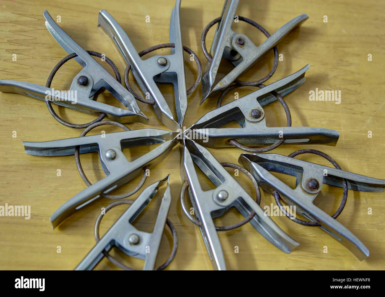 Hanging dryer clips. Suitable for both indoor and outdoor use. - Stock Image
