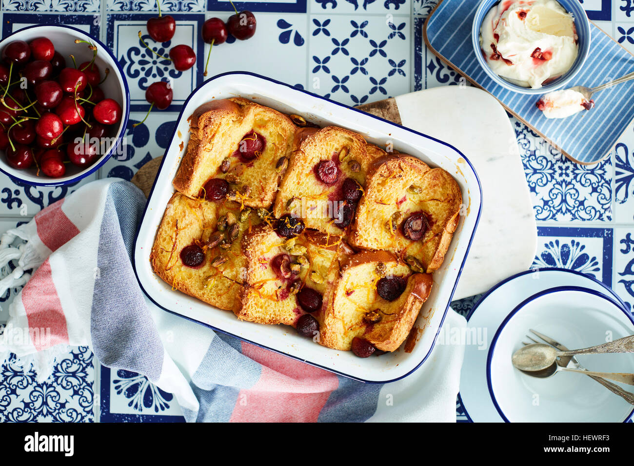 Cherry bread and butter pudding - Stock Image