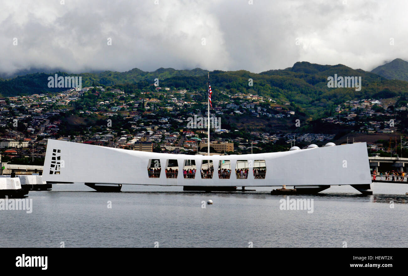 The USS Arizona Memorial, located at Pearl Harbor in Honolulu, Hawaiʻi, marks the resting place of 1,102 of the Stock Photo