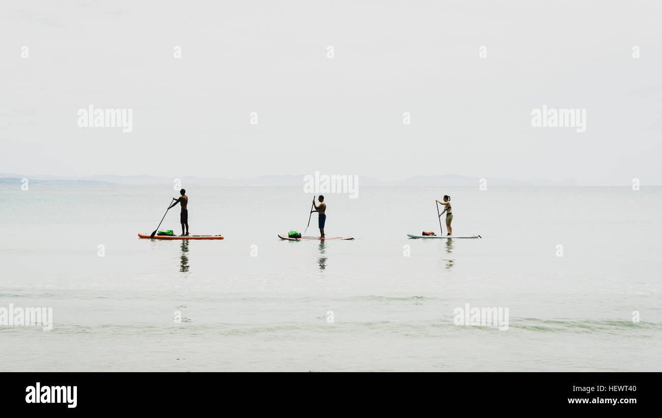 Friends paddleboarding, Olbia, Sardinia, Italy - Stock Image