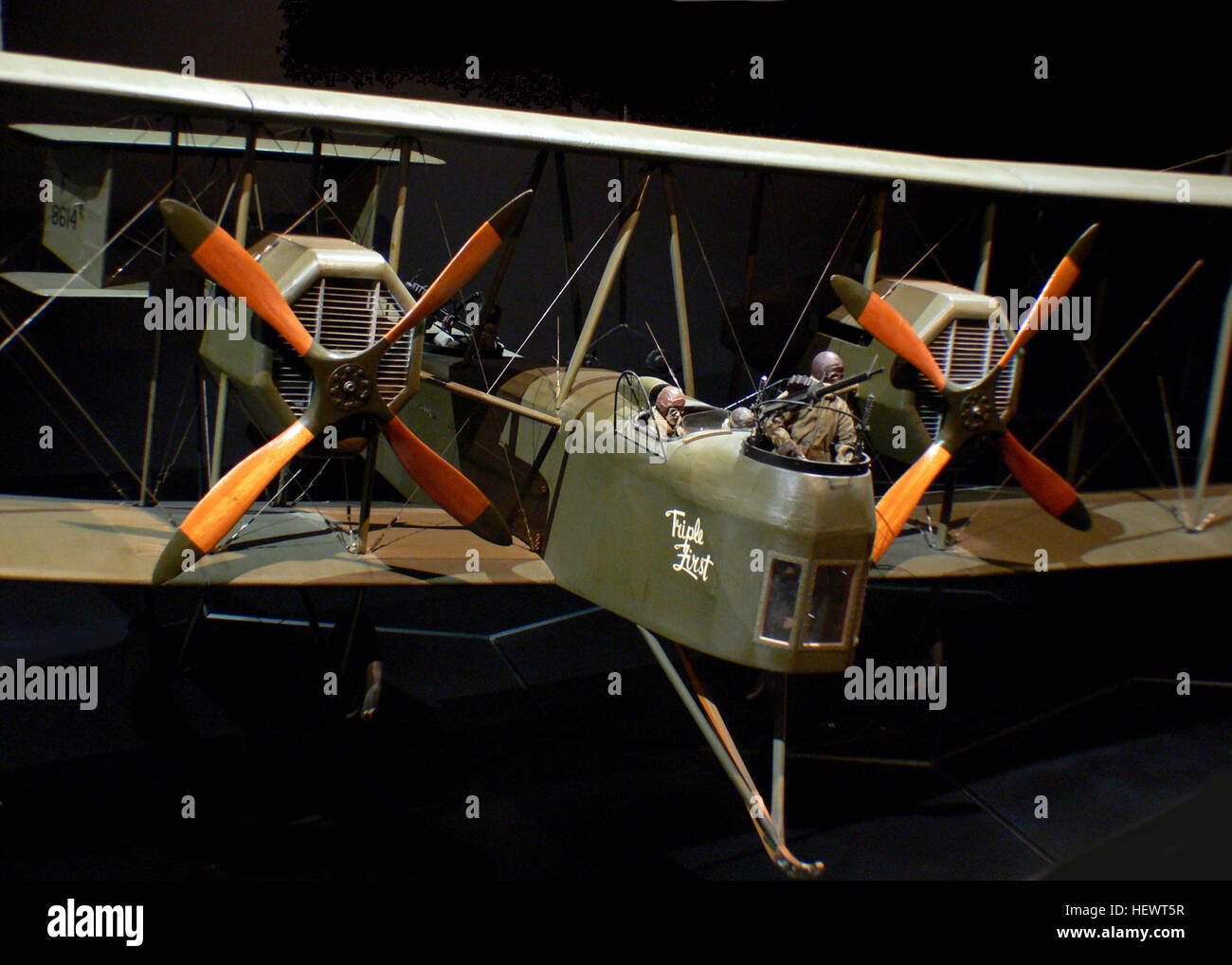 The Vickers Vimy was a British heavy bomber aircraft of the First World War and post-First World War era.  Top speed: - Stock Image
