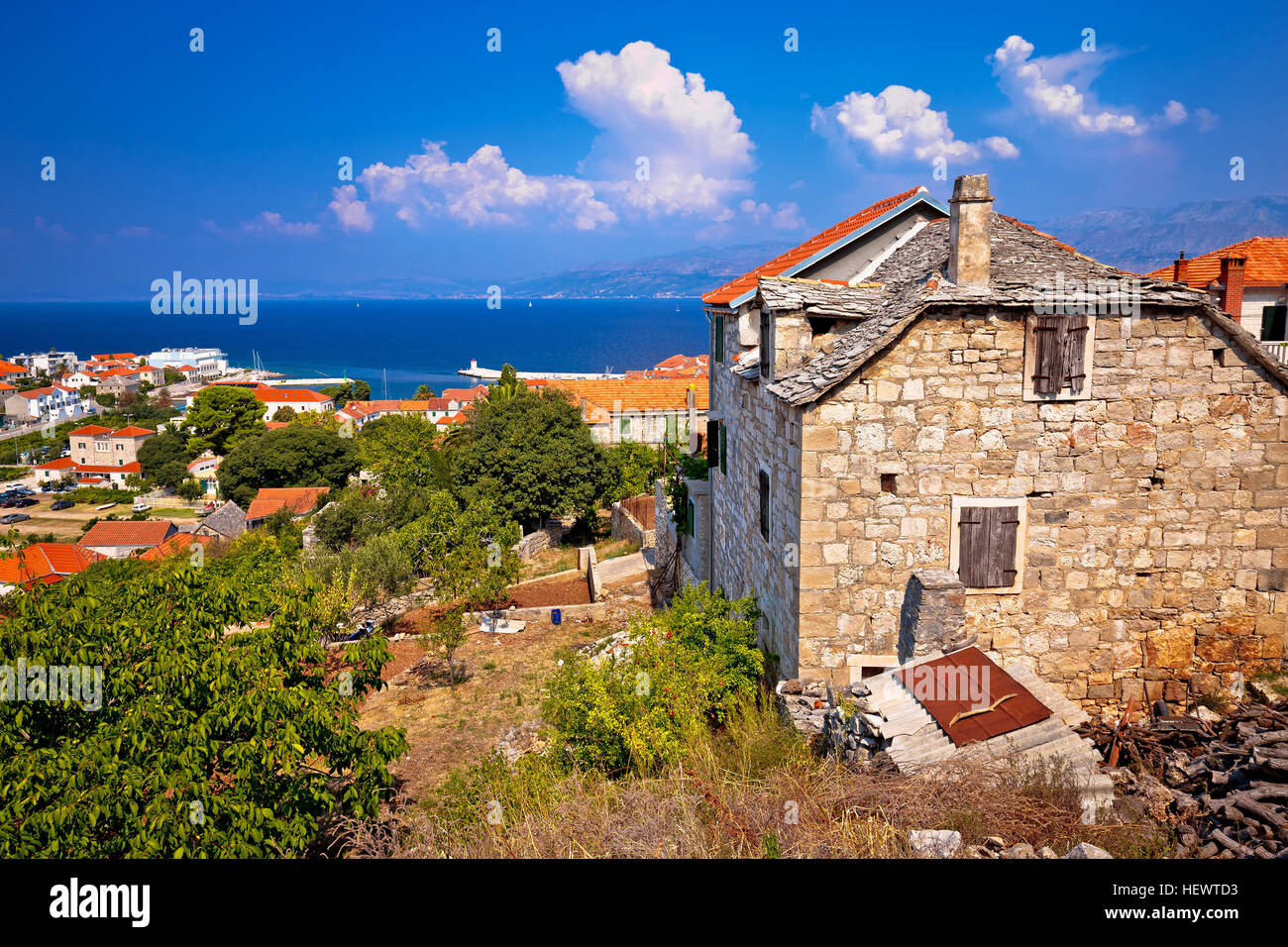 Old stone village Postira on Brac island, coast of Dalmatia, Croatia Stock Photo