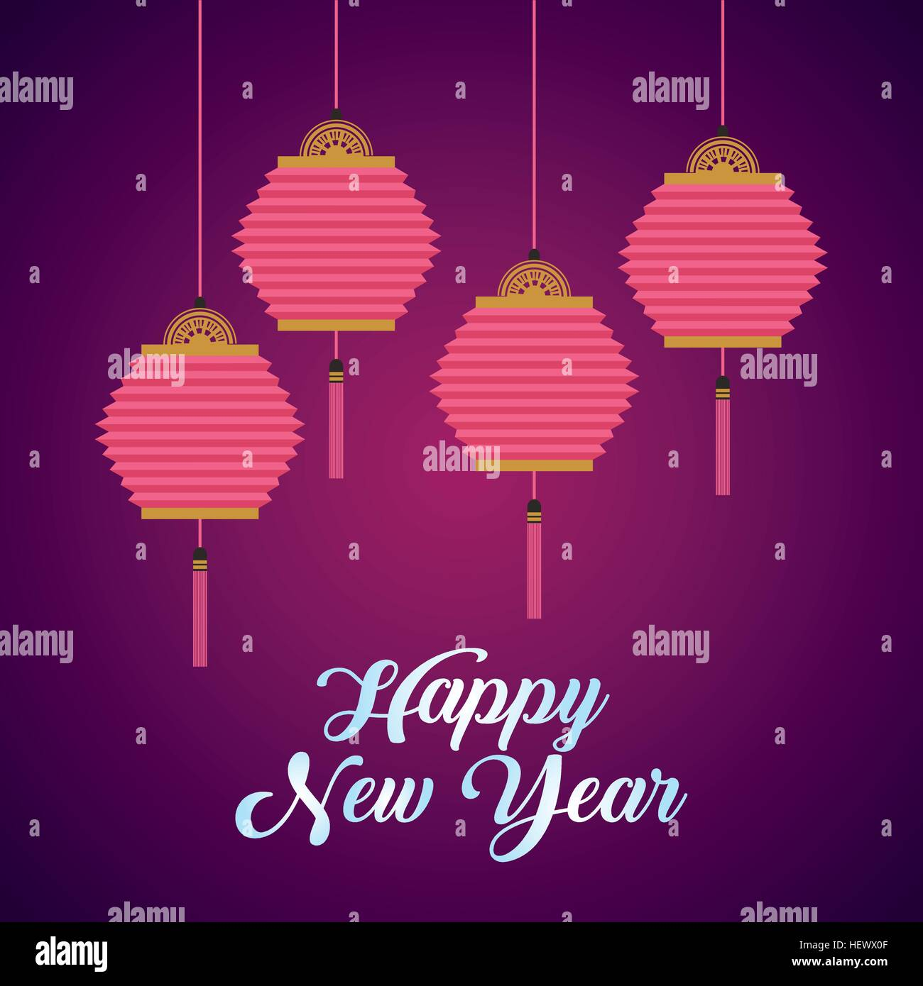 happy new year card with chinese lanterns hanging over purple background colorful design vector illustration