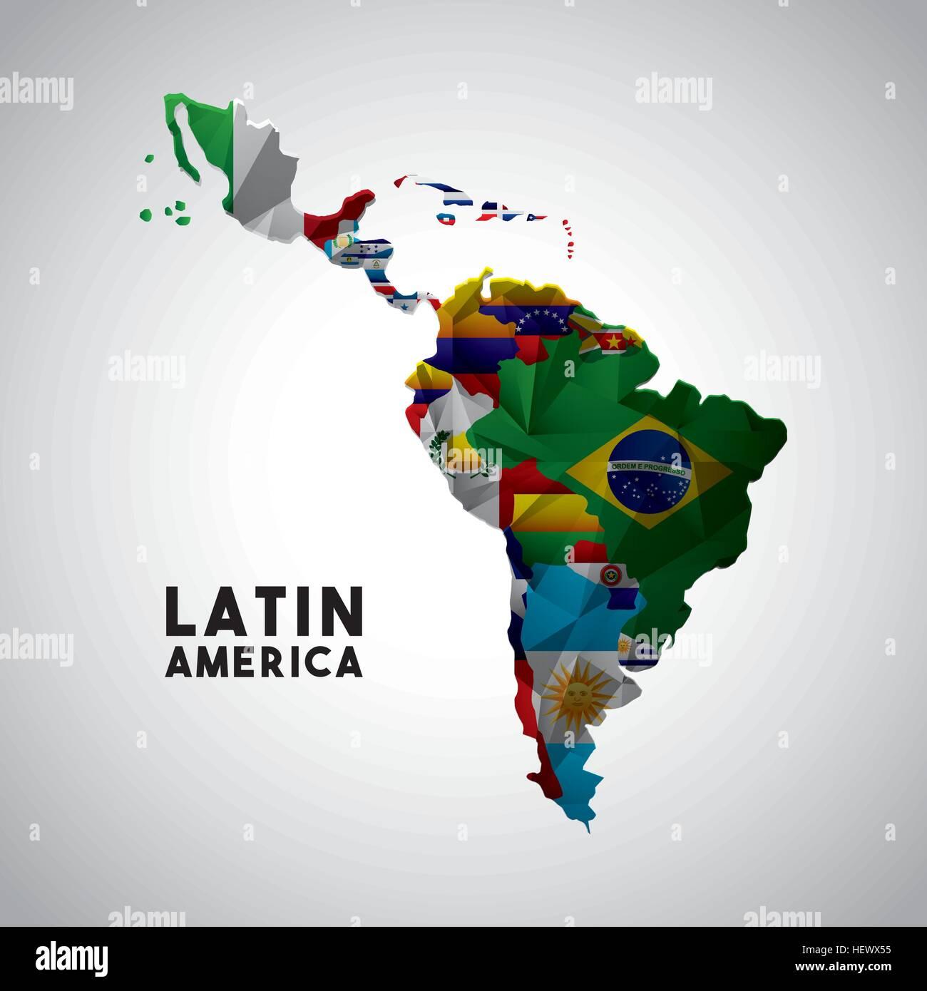 Map Latin America Flags Countries Stock Photos & Map Latin America ...
