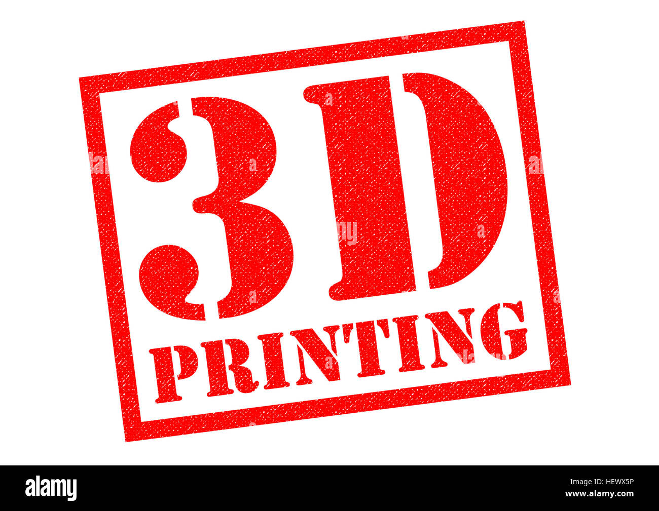 3D PRINTING red Rubber Stamp over a white background. - Stock Image
