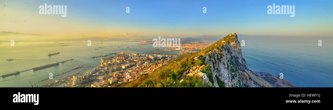The Rock of Gibraltar, a British overseas territory - Stock Image