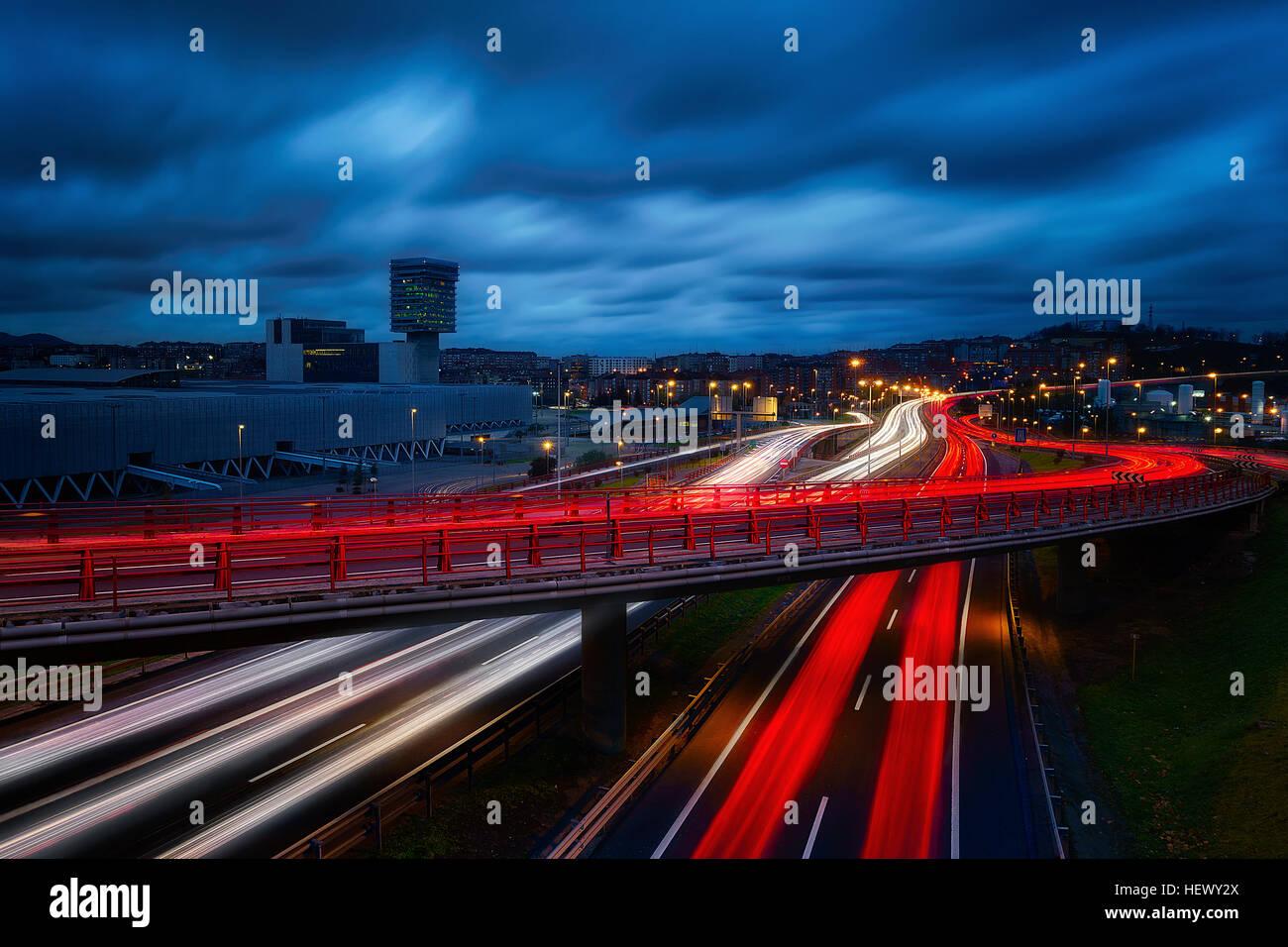 light trails in Bilbao night - Stock Image